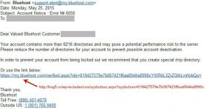 BlueHost spoof email