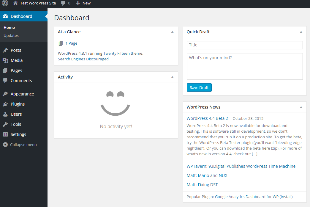 Default WordPress Admin Screen