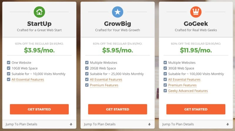 siteground hosting pricing plans