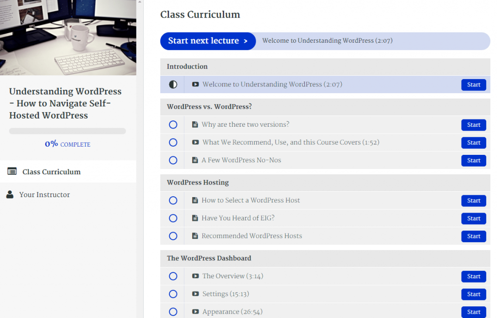 Understanding WordPress Course curriculum