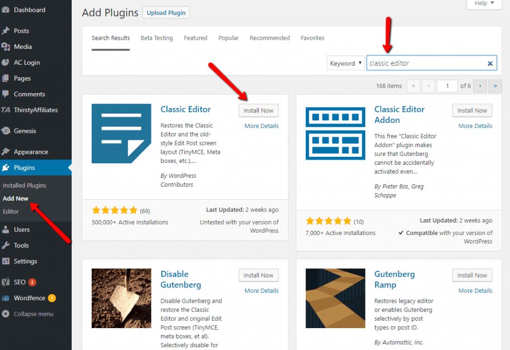 Installing classic editor plugin