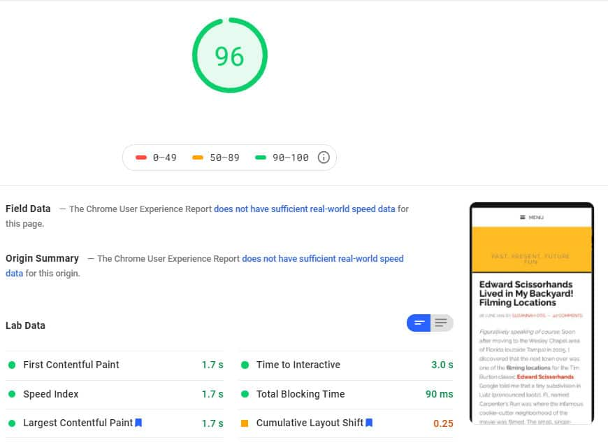 google page speed insights test after optimization